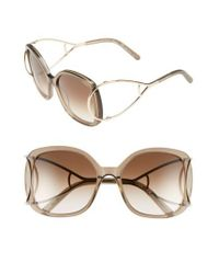Chloé | Natural 'jackson' 56mm Square Sunglasses - Light Turtledove | Lyst