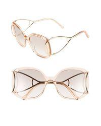 Chloé | Metallic 'jackson' 56mm Square Sunglasses | Lyst