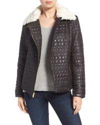 Via Spiga | Black Detachable Faux Fur Collar Quilted Moto Jacket | Lyst