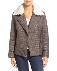 Via Spiga | Multicolor Detachable Faux Fur Collar Quilted Moto Jacket | Lyst