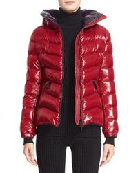 Moncler | Red 'anthia' Water Resistant Shiny Nylon Hooded Down Puffer Jacket | Lyst