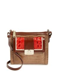 Brahmin | Brown 'vertical Vineyard - Mimosa' Embossed Crossbody Bag | Lyst