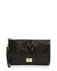 Brahmin | Black 'lily' Croc Embossed Leather Clutch | Lyst