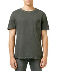 TOPMAN - Gray Washed Pocket Crewneck T-shirt for Men - Lyst