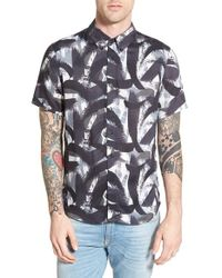 Native Youth | Black Trim Fit Short Sleeve Print Woven Shirt for Men | Lyst
