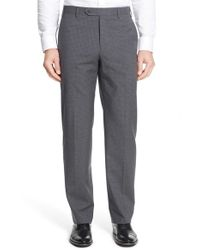 Zanella - Gray 'devon' Flat Front Check Wool Trousers for Men - Lyst