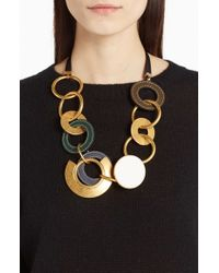 Marni | Metallic Leather & Brass Link Statement Necklace | Lyst