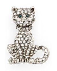 Cara - Metallic Crystal Cat Pin - Lyst