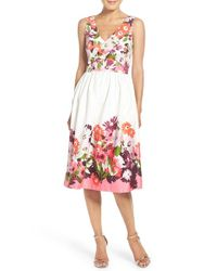 Donna Morgan - Red Floral Print Cotton Sateen Fit & Flare Dress - Lyst