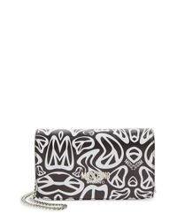 Moschino Black 'peace' Printed Leather Wallet On A Chain