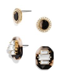 BaubleBar - Metallic 'buchanan' Crystal & Tortoiseshell Earrings (set Of 2) - Lyst