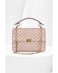 Valentino - Pink 'Rockstud Matelasse' Shoulder Bag - Lyst