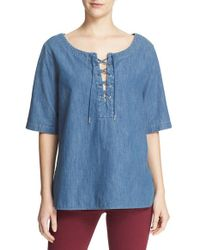 Rag & Bone | Blue Lace-up Chambray Top | Lyst