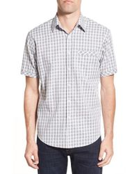 James Campbell | Gray 'greer' Regular Fit Plaid Short Sleeve Sport Shirt for Men | Lyst