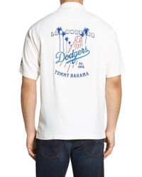 Tommy bahama 39 los angeles dodgers 39 silk camp shirt in for Tommy bahama florida shirt