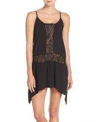 Becca - Black 'amore' Lace Inset Cover-up Dress - Lyst