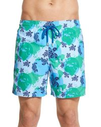 Vilebrequin | Blue 'moorea - World Map' Print Swim Trunks for Men | Lyst