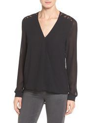 MICHAEL Michael Kors | Black Lace Trim Faux Wrap Blouse | Lyst