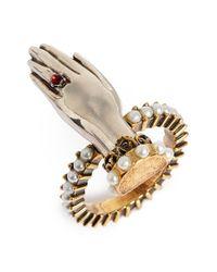 Alexander McQueen - Metallic Faux Pearl Hand Ring - Lyst