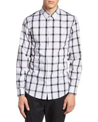 Calibrate | Gray No-iron Slim Fit Micro Collar Plaid Sport Shirt for Men | Lyst