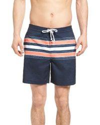 Original Penguin | Blue Stripe Board Shorts for Men | Lyst