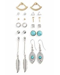 TOPSHOP | Blue Leaf & Turquoise Earrings - Turquoise Multi (set Of 11) | Lyst
