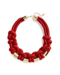 TOPSHOP | Red Rope Knot Necklace | Lyst