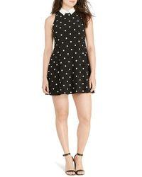 Lauren by Ralph Lauren - Black Contrast Collar Polka Dot Jersey Dress - Lyst