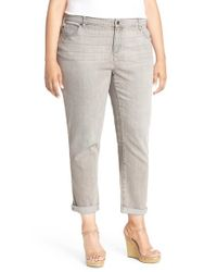 Eileen Fisher - Gray Stretch Organic Cotton Boyfriend Jeans - Lyst