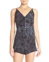 Free People | Black 'walkabout' Button Front Romper | Lyst