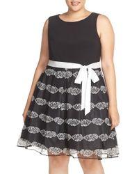 Chetta B - Black Sash Tie Mixed Media Fit & Flare Dress - Lyst