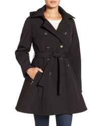 Ivanka Trump | Black Water Resistant Hooded Double Breasted Coat | Lyst