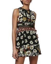 TOPSHOP | Black Crochet Trim Patchwork Sundress | Lyst