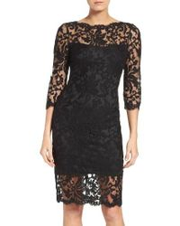 Tadashi Shoji | Black Embroidered Lace Sheath Dress | Lyst
