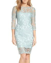 Tadashi Shoji   Blue Embroidered Lace Sheath Dress   Lyst