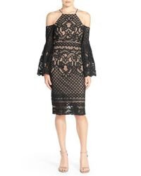 Bardot | Black 'mila' Cold Shoulder Lace Midi Dress | Lyst