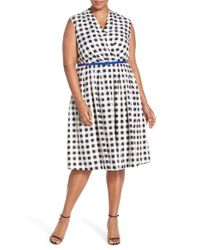 Ellen Tracy | White Belted Gingham Print Surplice Fit & Flare Dress | Lyst