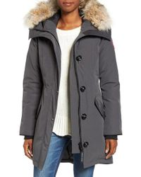 Canada Goose | Gray Rossclair Shell Parka Jacket | Lyst