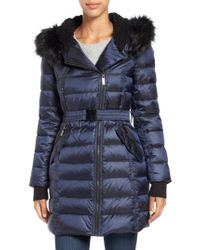 French Connection - Blue Quilted Coat With Faux Fur Trim Hood - Lyst