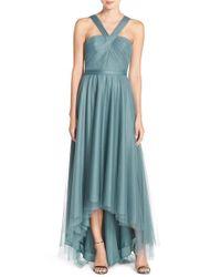 Monique Lhuillier Bridesmaids | Blue V-neck Tulle High/low Gown | Lyst