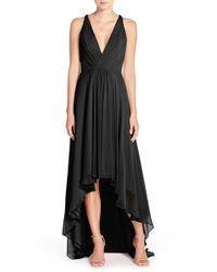 Monique Lhuillier Bridesmaids - Black Deep V-neck Chiffon High/low Jersey Gown - Lyst