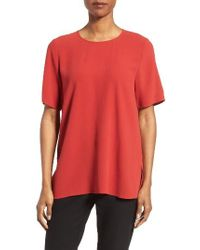 Eileen Fisher | Red Silk Crepe Round Neck Boxy Top | Lyst