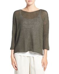 Eileen Fisher - Multicolor Organic Cotton Tape Yarn Bateau Neck Sweater - Lyst