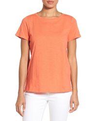 Eileen Fisher - Orange Slub Organic Cotton Jersey Tee - Lyst