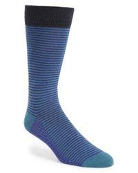 Ted Baker | Blue Stripe Organic Cotton Blend Socks for Men | Lyst