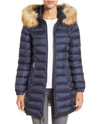 kate spade new york - Blue Bow Back Down Coat With Faux Fur Trim - Lyst