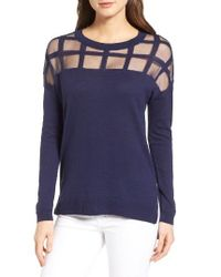 Trouvé | Blue Sheer Grid Yoke Sweater | Lyst