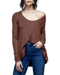 Free People | Brown 'malibu' Thermal Top | Lyst