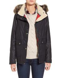 Barbour | Multicolor 'cravasse' Water Repellent Waxed Cotton Jacket With Faux Fur Trim | Lyst