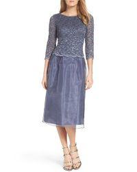 Alex Evenings | Blue Mixed Media Fit & Flare Dress | Lyst